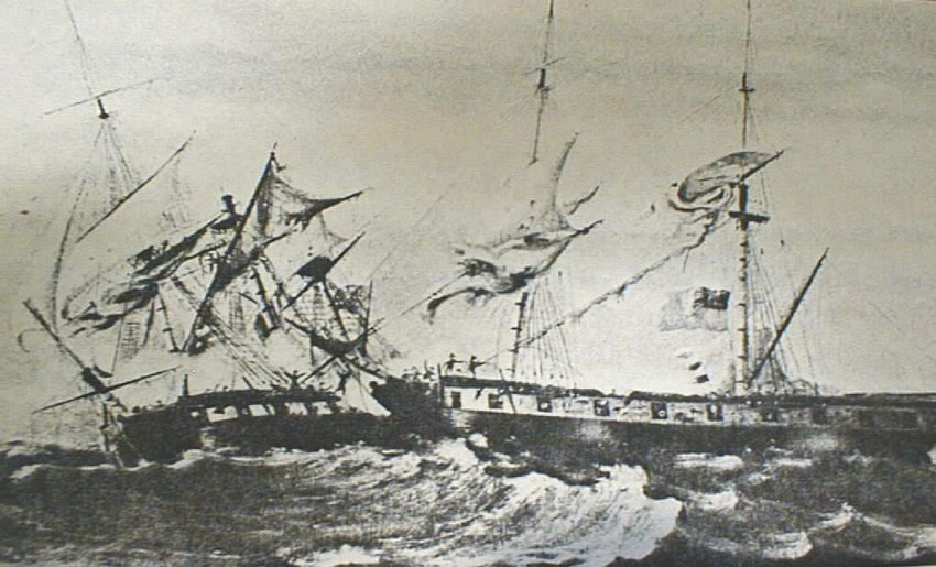"U.S. Sloop ""The Wasp"" in action during The War of 1812"